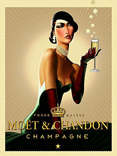 """Vintage Moet and Chandon Champagne Ad Reproduction Sign Aluminum Metal Signs Tin Plaques Wall Poster for Garage Man Cave Beer Cafee Bar Pub Club Home Decor 8""""x12"""""""