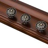 Perilla de 4 piezas para gabinetes de cocina y dormitorio,manijas de tocador redondas,herrajes de cajones, de muebles de armario de madera,patrón floral victoriano,tornillos de montaje (Bronze)