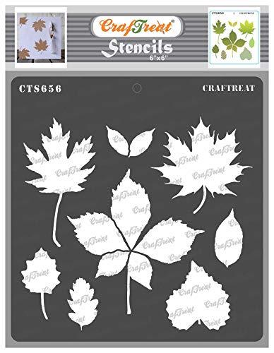 CrafTreat Blätter Schablonen zum Malen auf Holz wiederverwendbar - Herbstblätter - 15,2 x 15,2 cm - Blatt Kunst Schablonen für Stoffmalerei - Herbstblatt Schablonen zum Malen von Wänden und Möbeln