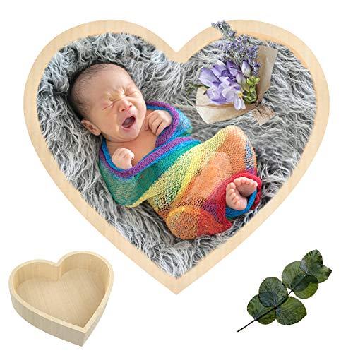 Rehomy Baby Fotografie Requisiten Herzförmige Holzschale Neugeborenes Bett Fotoshooting Posing Requisite für Infant Boy Girl (Beige)