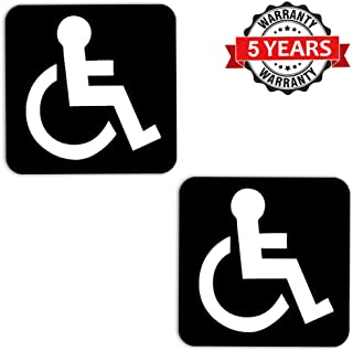 2 x Vinyl Self-Adhesive Decal Stickers Disabled Driver Mobility Black Parking Wheelchair Sign Badge Laptop Phone Car Window Auto B 3