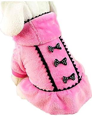 Puppy Pet Dog Winter Hoodie Bowknot Warm Coat Soft Plush Princess Jasmine Dress