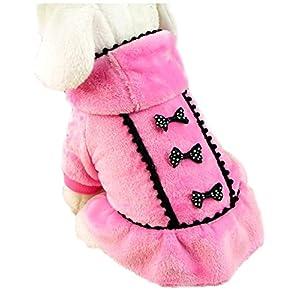 ACEFAST Puppy Pet Dog Winter Hoodie Bowknot Warm Coat Soft Plush Princess Jasmine Dress (Pink, S)
