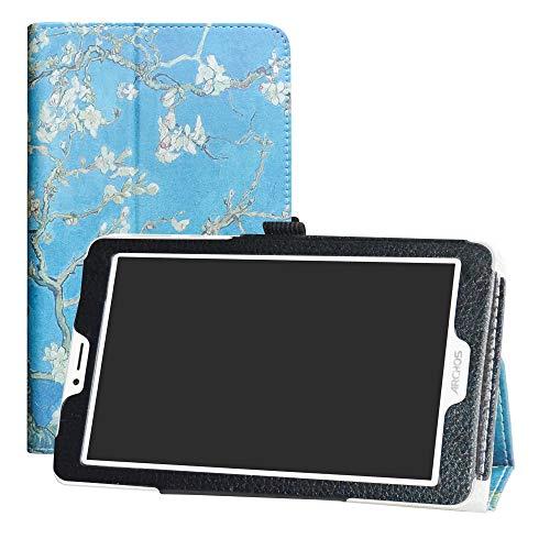LFDZ Archos Core 70 3G V2 Funda, Soporte Cuero con Slim PU Funda Caso Case para 7' Archos Core 70 3G V2 Tablet(Not fit ARCHOS Core 70 3G),Almond Blossom