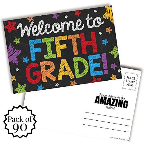 Welcome To 5th Grade Colorful Chalkboard Themed Blank Postcards For Teachers To Send To Students, 4'x6' Fill In Notecards by AmandaCreation (90)