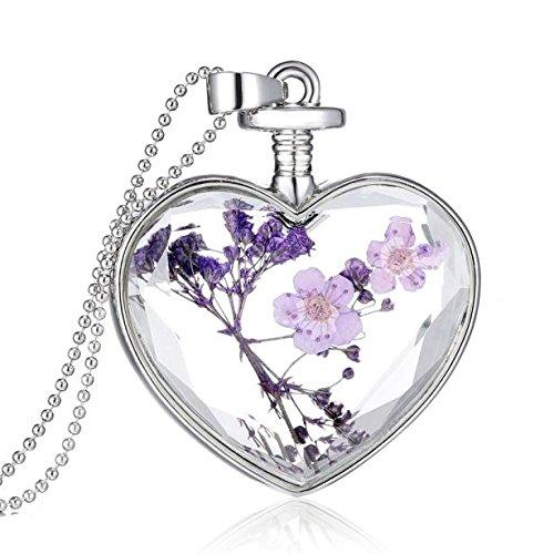 XBKPLO Necklace for Women Fashion Heart Glass Lavender Floating Pendant Bib Chain Temperament Wild Silver Accessories Jewelry Charm (Purple)