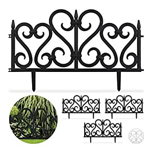 Relaxdays Set de 8 separadores de jardín, Valla Decorativa, con ...