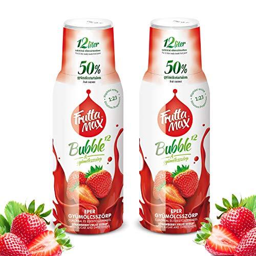 Frutta Max Getränkesirup Frucht-sirup Konzentrat | Erdbeere Geschmack | weniger Zucker | mit 50% Fruchtanteil | für Soda Maschine geeignet 2erPack(2x500ml)