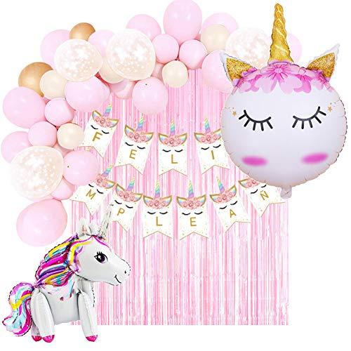 Decoración Cumpleaños de Unicornio para Fiesta de Niña-Guirnalda de Globos, Pancarta Feliz Cumpleaños, Cortina de Flecos, Globos de Aluminio y Globos de Látex con Confeti