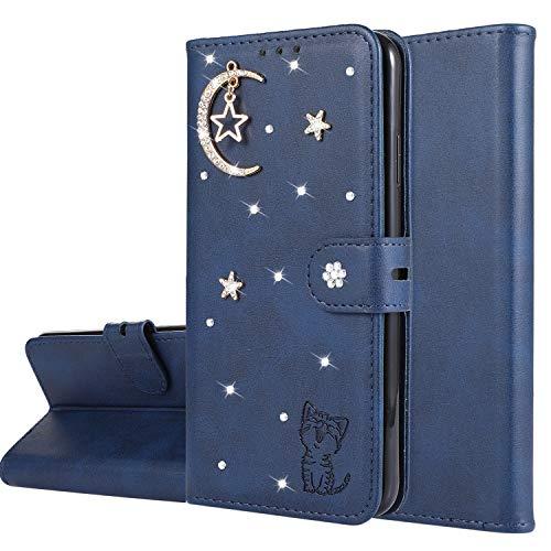 Miagon Diamant Brieftasche Hülle für Huawei Mate 20 Lite,Mond Star Katze 3D Design PU Leder Flip Handyhülle Klapphülle Klappbar Silikon Bumper Schutzhülle,Blau