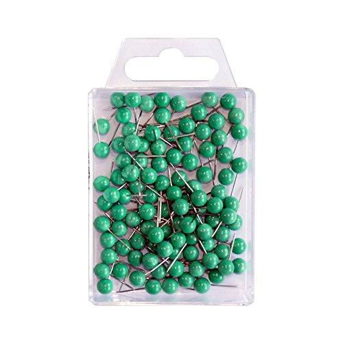 Wedo 56104 Markierungsnadeln (Rundkopfnadeln, Nadellänge 16 mm, Kopfdurchmesser 6 mm) 100 Stück, grün
