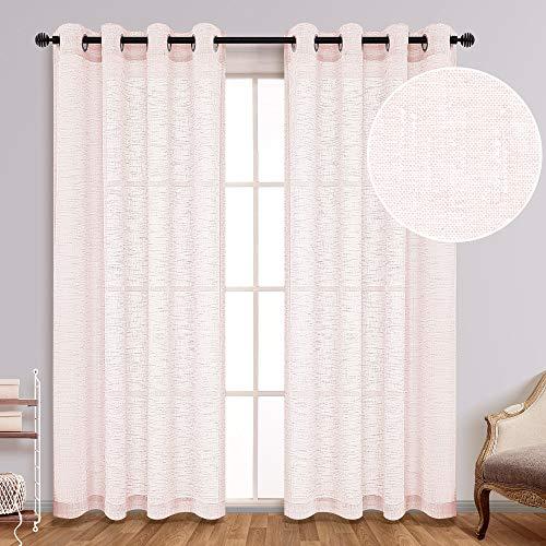 Blush Curtains Semi Sheer 84 Inch Length for Bedroom Set 2 Panels Grommet Linen Textured Light Filtering Privacy Blush Pink Semi Sheer Closet Curtains for Closet Door Girls Boho Nursery 52x84 Long