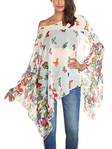 DJT Damen Rundhals Batwing Chiffon Loose Fit Tuell Bluse Weiss One Size