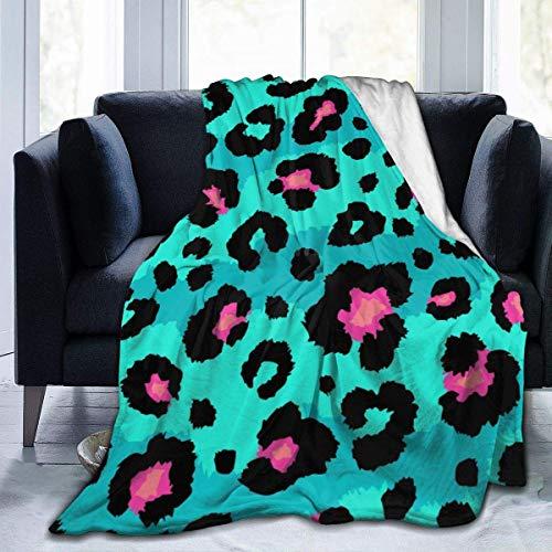 Manta de forro polar ultra suave, con estampado de leopardo, suave y cálida, para cama, sofá, sala de estar, 50 pulgadas X40