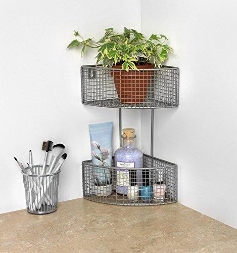 Spectrum Diversified Optional Mounted Corner Shelf, 2-Tier Wall Basket Storage for Bathroom & Kitchen, Satin Nickel