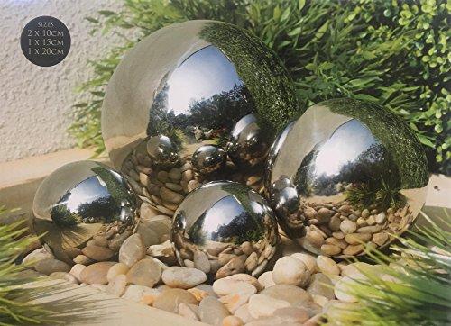Mason & Jones Stainless Steel 4pc Gazing Balls Garden Decoration