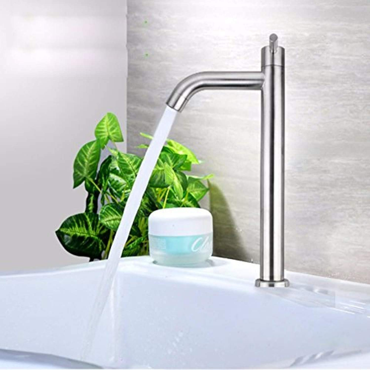 Water Tap Stainless Steel Single Cold Modern Taps Kitchen Brass Faucet Bathroom Sink Basin Waterfall Tap Mixer Water Washroom Bath Tub Shower