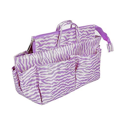 Periea Handtaschen-Organizer groß 13 Fächer + GRATIS Schlüsselhalter - Lila Zebra-Harriet