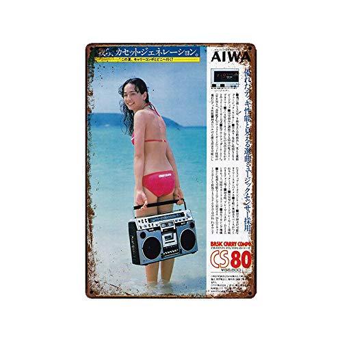 Metal Tin Sign AIWA cassette player  Bar Pub Home Vintage Retro Poster Cafe ART