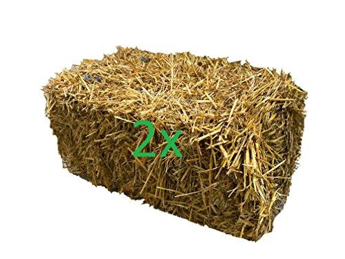 2 Strohballen bestes Weizenstroh ca. 24kg ganze Ballen