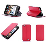 Etui luxe Archos 55 Helium Plus 4G rouge Ultra Slim Cuir Style avec stand - Housse...