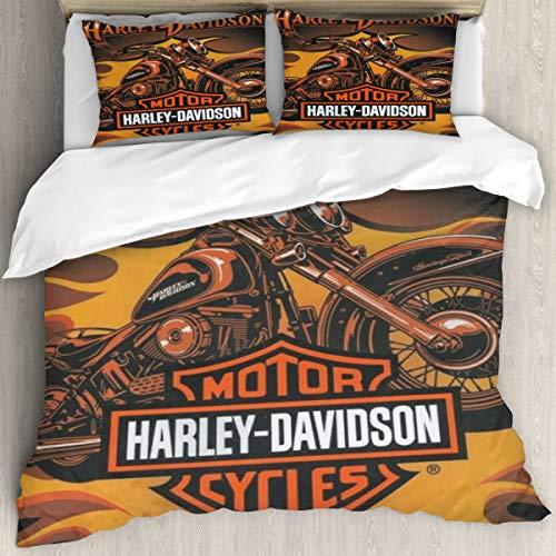 Harley Davidson - Juego de funda de edredón de 228 x 264 cm, 3 piezas, 1 funda de edredón de microfibra y 2 fundas de almohada de 50 x 75 cm con cierre de cremallera