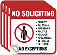 (4 Pack) No Soliciting Sign Sticker, 5½ X 5½ 4 Mil Sleek Vinyl Decal Stickers, Weather Resistant Long Lasting UV Protected and Waterproof Made in USA by Sigo Signs