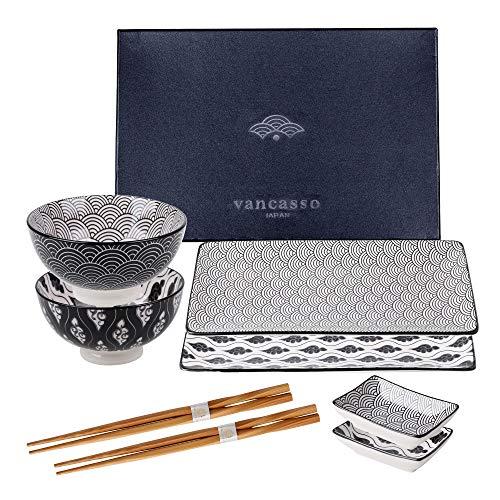 vancasso HARUKA Sushi Set, Porzellan japanische Ess Service, 8-teilig Geschirr-Set für 2 Personen,Beinhaltet Sushi Teller, Schalen, Soßenschälchen und Essstäbchen