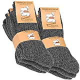 VCA 6 Paia di Calzettoni Norvegesi caldi Calze di Lana Inverno per le gli Uomo, Colore: antracite