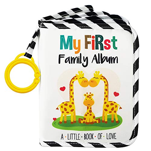 Urban Kiddy Baby's My First Family Album | Soft Photo Cloth Book Gift Set for Newborn Toddler & Kids (Giraffe)