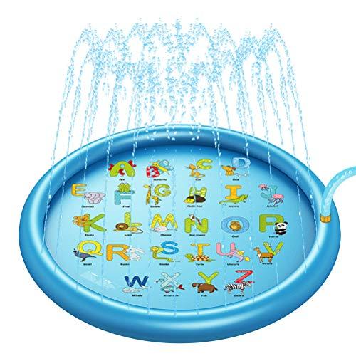 3-in-1 Kinderen Alphabet Pool Sprinkler Kussen Beach, Summer Backyard Buiten Speelgoed van de baby Water Spray Mat, Fun Sprinkler voor peuters en jonge kinderen 68 Inches