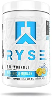 Ryse PRE Workout   Ryse Up Supplements   Fuel Your Greatness™   Energy, Endurance, Focus, Next Level Pump, Citruline, Taurine, Arginine, CarnoSyn® Beta Alanine, 20 Servings (Electric Lemonade)