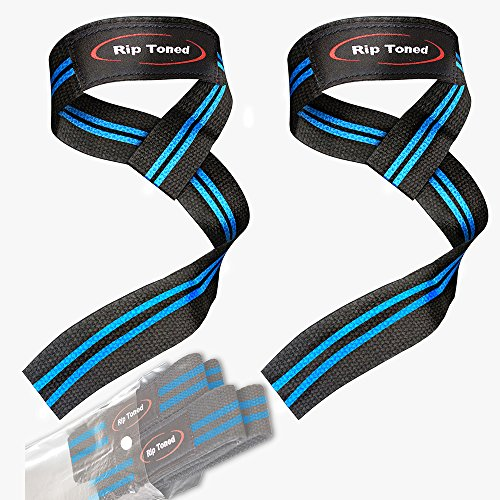 Rip Toned Lifting Wrist Straps by (Pair) - Bonus Ebook - Cotton Padded - for Weightlifting, Bodybuilding, Crossfit, Strength Training, Powerlifting, MMA (Black/Blue)
