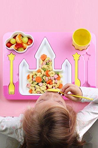 """Princess Castle"" Melamine Kids Dinner 7-piece Set, Plate, Cup, Utensils, Bowl on a Tray"