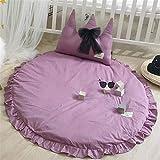 Baumwolle Krabbeldecke Kinder Baby Spielmatte Runde Teppich Kriechmatte Spielzelte Dekoration fürs Kinderzimmer (Lila)