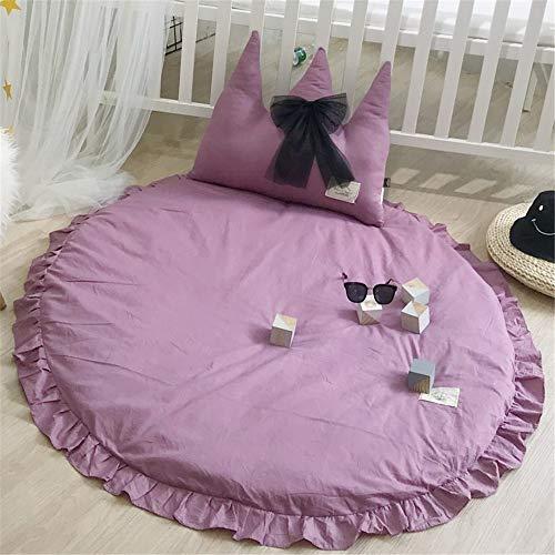 Martin Kench Tapis d'éveil en coton pour enfant et bébé Tapis rond Tapis de jeu Tentes de jeu Décoration pour chambre d'enfant 120 x 120 cm (Violet)