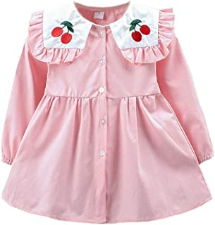 Fairy-Baby Toddler Girls Autumn Long Sleeve Princess Dress Pure Color Girls Skirt Elastic Cuff Cherry Embroidery Doll Collar Babys Daily Dress (Color : Pink, Size : 110cm)