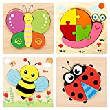 Georgie Porgy 4pcs Rompecabezas de Madera, Rompecabezas Animales de Madera para Juguetes Educativos Regalos de Cumpleaños para Niños de 18 Meses+ (Insecto)