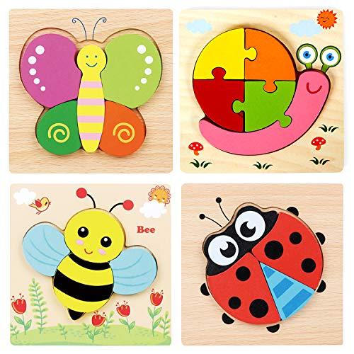 Georgie Porgy 4 Packs Holzpuzzle Set Holz Tier Puzzle Kombination für...