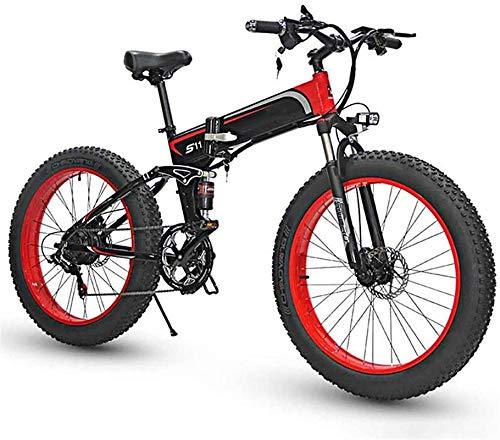 Bicicleta eléctrica de Nieve, Bicicleta eléctrica de 7 velocidades Bicicleta de montaña eléctrica de 7 velocidades para Adultos, 26'Bicicleta eléctri.