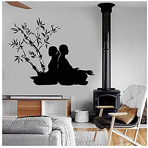 Yoga Poses Tatuajes de pared Budismo Vinilo Pegatinas de pared para Yoga Studio Zen Meditación Wall Art Mural para dormitorio Wallpaper78x99cm