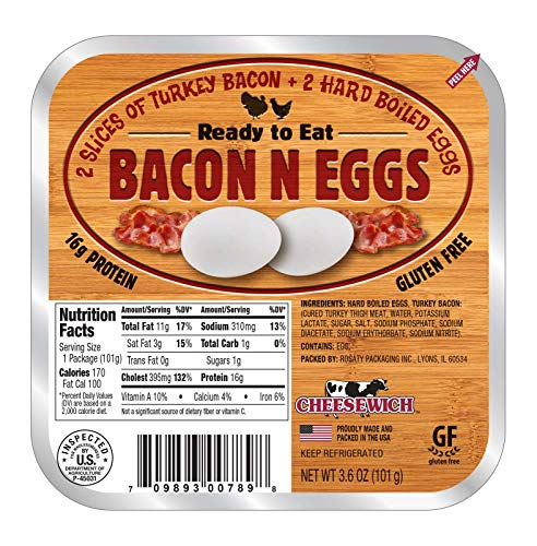Cheesewich Gluten Free, Low Carb, High Protein, Keto Friendly, Bacon n Eggs 3.6 ounces (Pack of 12)