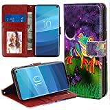 Samsung Galaxy S10 Wallet Case Tree Frog Pattern Protective PU Leather Flip Cover with Credit Card Slots and Side Cash Pocket+Magnetic Clasp Closure for Samsung Galaxy S10