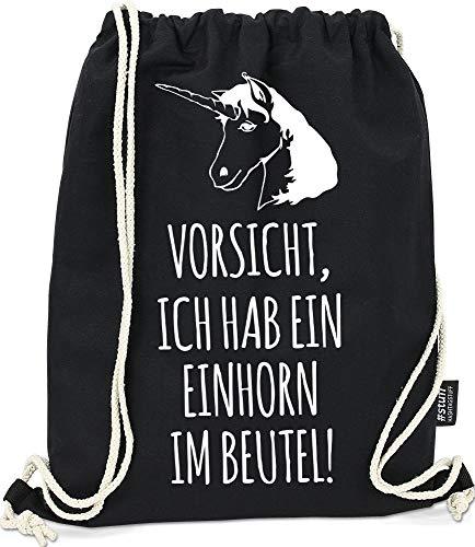 Hashtagstuff® Turnbeutel mit Sprüchen Designs auswählbar Kordel Schwarz Spruch Rucksack Jutebeutel Sportbeutel Gymbag Beutel Hipster Einhorn