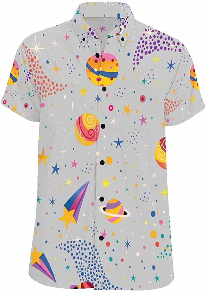 InterestPrint Cartoon Dealing full price reduction Discount mail order Colored Planets Men's Short-Sleeve Looser-