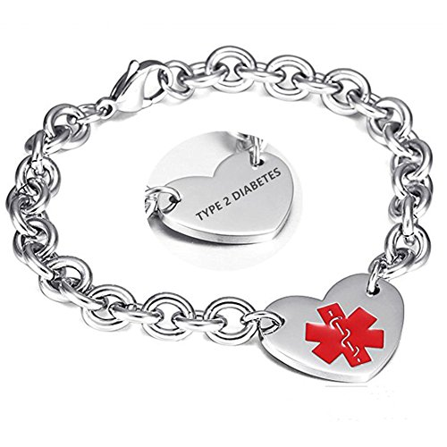 LF 316L Stainless Steel Type 2 Diabetes Engraved Medical Alert Heart Charm Link Bracelet Rolo Chain...