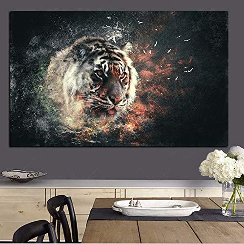 Tigre en el fuego Animales Pintura sobre lienzo Arte pop Imagen de pared moderna para sala de estar Póster Sofá Decoración para sala de estar 70X140cm Marco