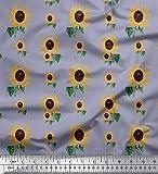 Soimoi Grau Baumwoll-Popeline Stoff Blätter und