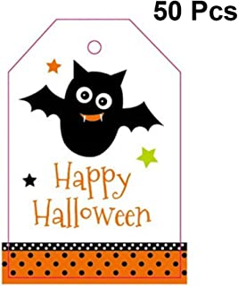 Hemoton 50pcs Halloween Cartoon Greeting Cards Assortment Vertical Bat Greeting Gift Cards for Candy Biscuit Bag Packing Box