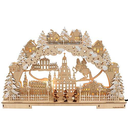 Dekohelden24 3D LED Schwibbogen, verschneit, Motiv: Dresdner Frauenkirche, ca. 60 x 7,5 x 39 cm